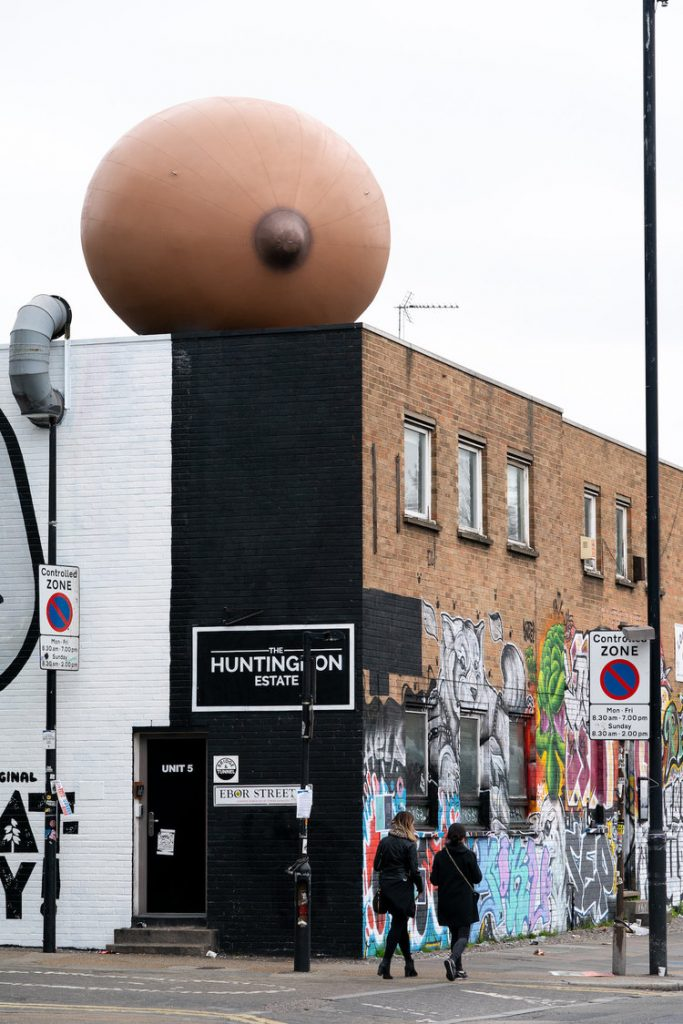 Huge installations of inflatable breasts invade London | Collater.al