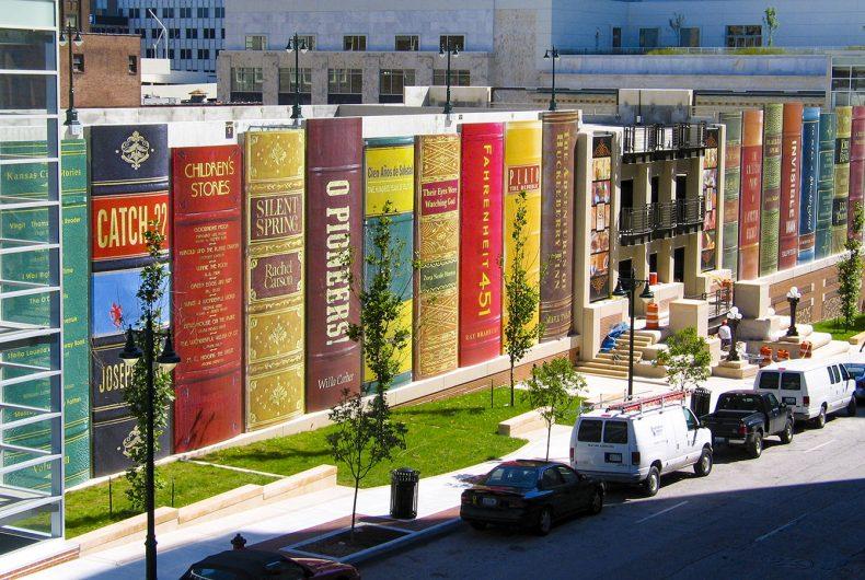 Giant books in Kansas City Public Library