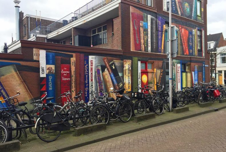 This mural from Utrecht looks like a library shelf