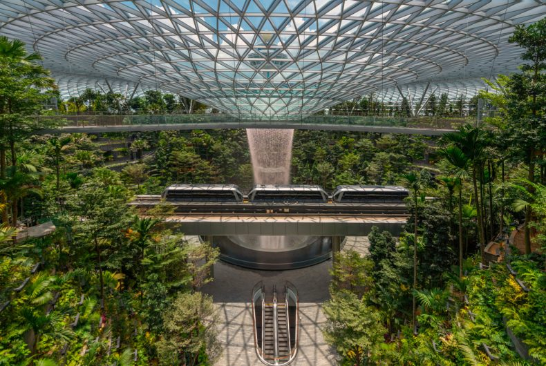 The waterfall of Singapore's Jewel Changi airport