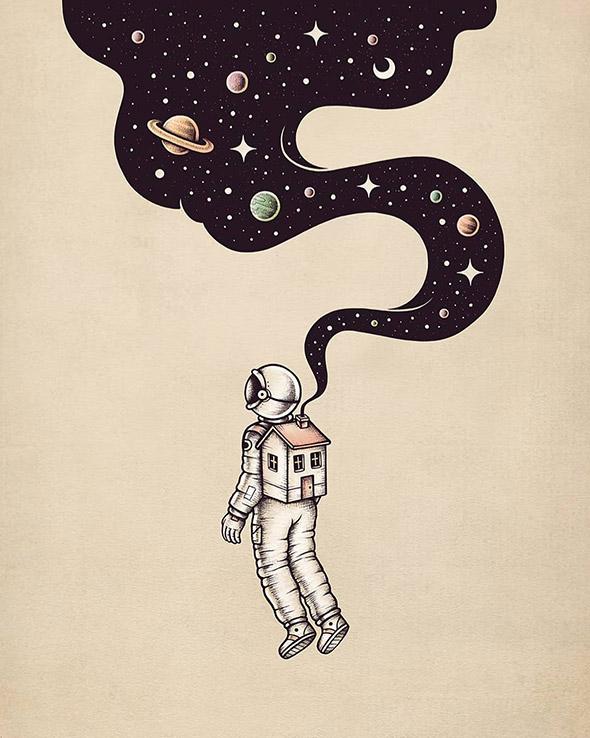 Nello spazio insieme a Buko, illustrazioni galattiche | Collater.al 9