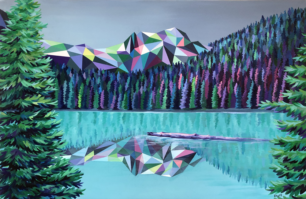 Elyse Dodge, multi-faceted acrylic paintings