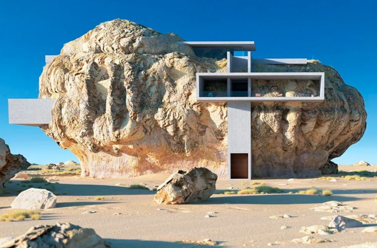 House inside a rock, the dream project by Amey Kandalgaonkar