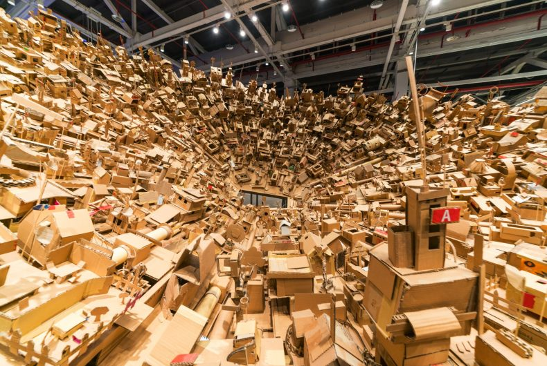 Isabel and Alfredo Aquizilan and their cardboard installations