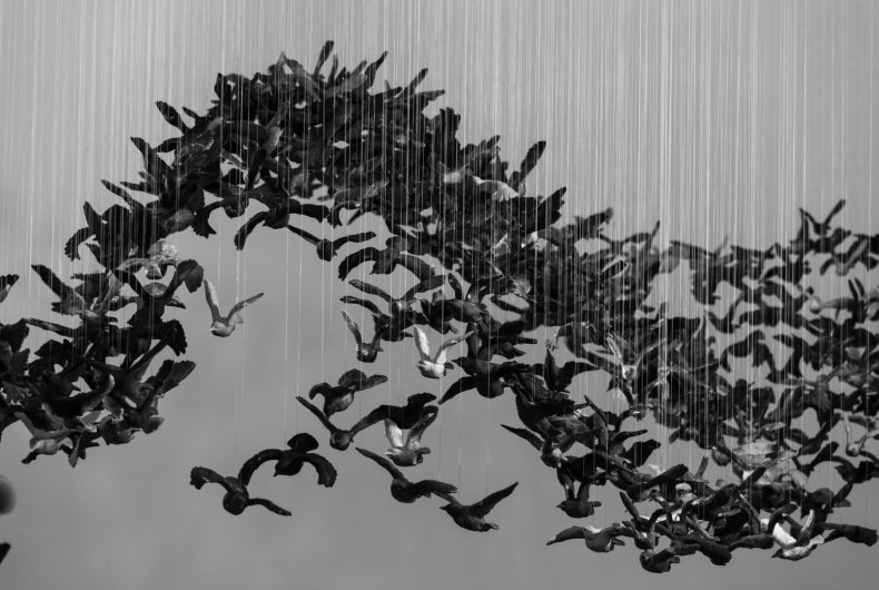 Murmuration (Landscape), the installation formed by 10.000 porcelain birds
