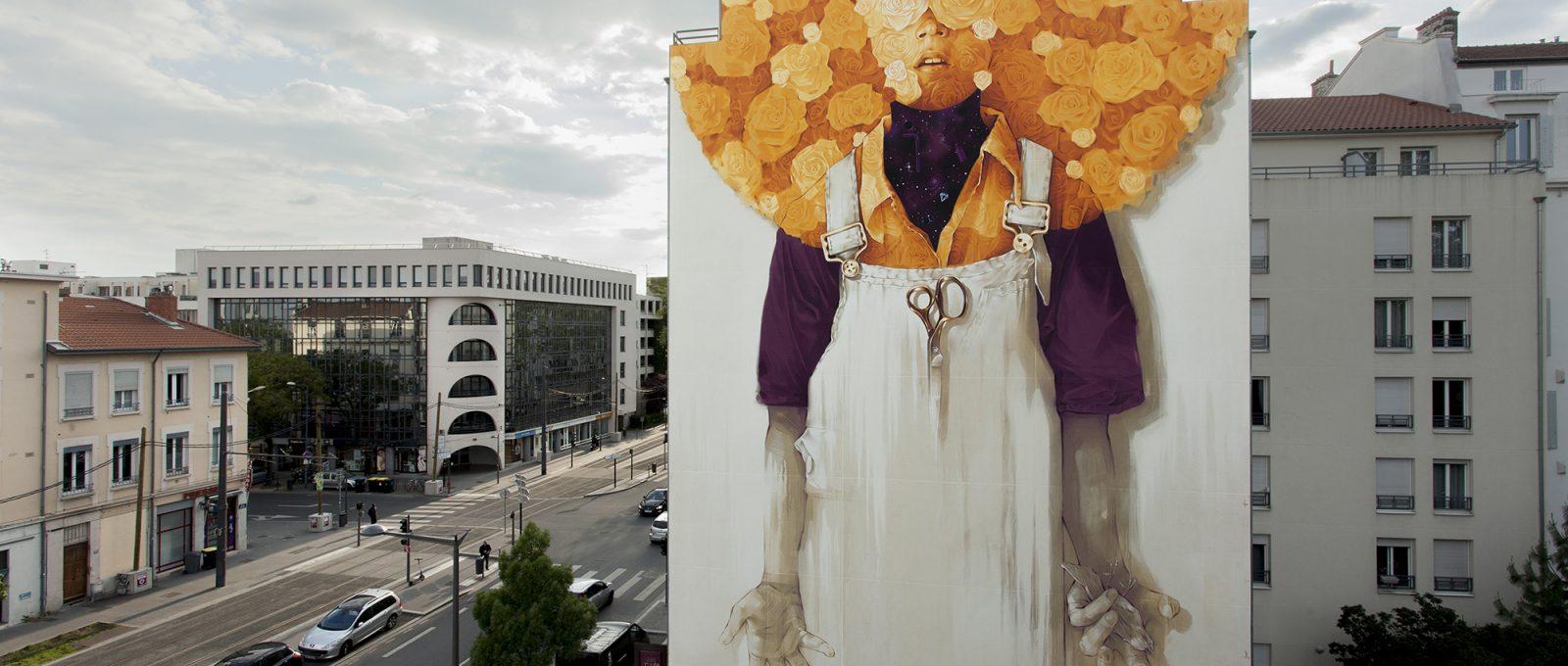 Soleil, il nuovo murale di INTI per il Peinture Fraiche Festival
