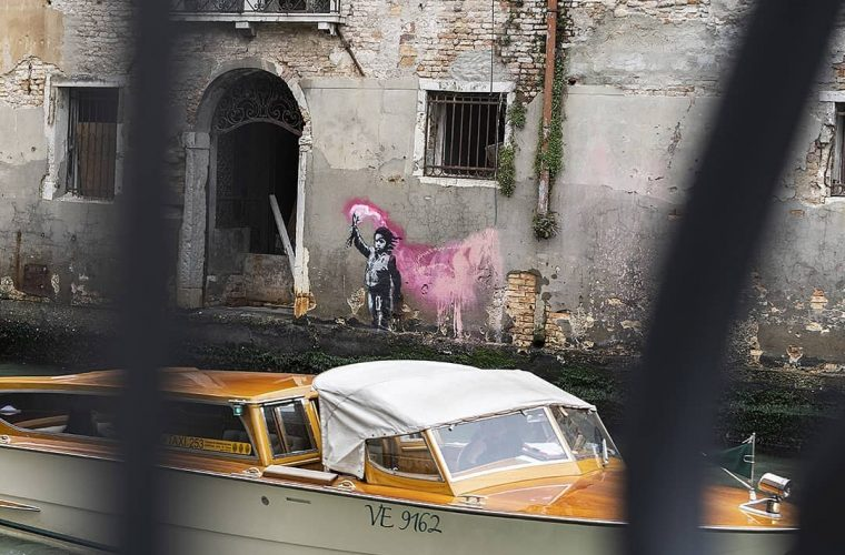 Banksy claims the work that appeared in a canal in Venice