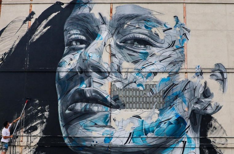 Abstract portraits in street art by Hopare