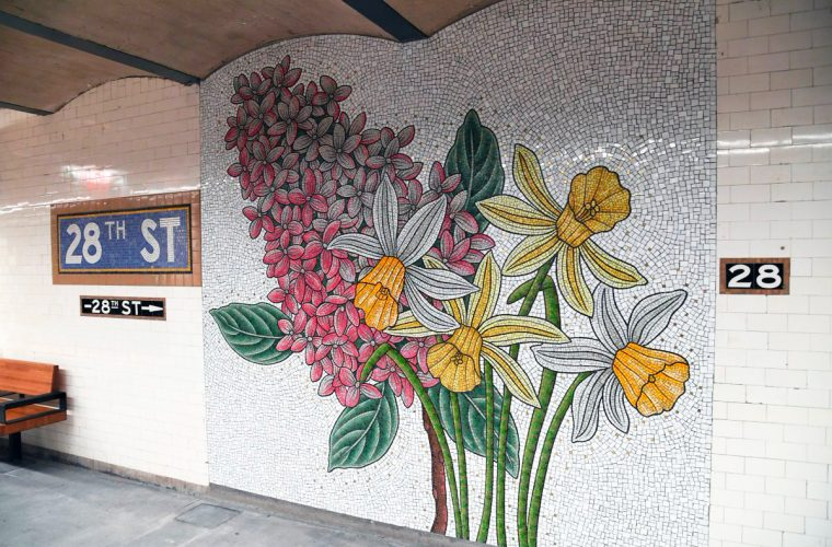 Thanks to Nancy Blum, flower mosaics flourish in the New York subway