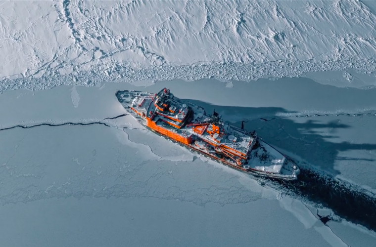 The Icebreaker. An aerial trip through the ice of the North Sea