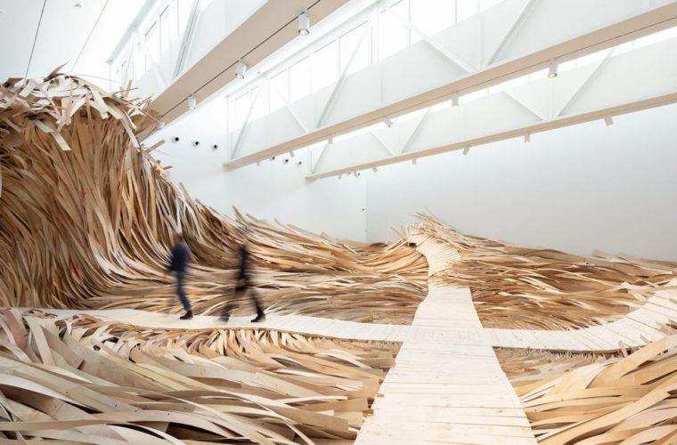 Hubris Atë Nemesis the wave of wood on display at CMCA