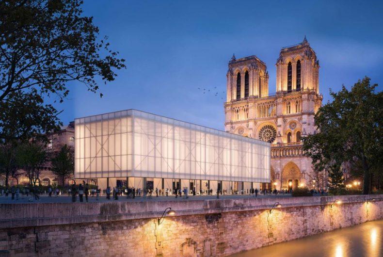 Studio Gensler inventa il padiglione pop up per Notre-Dame