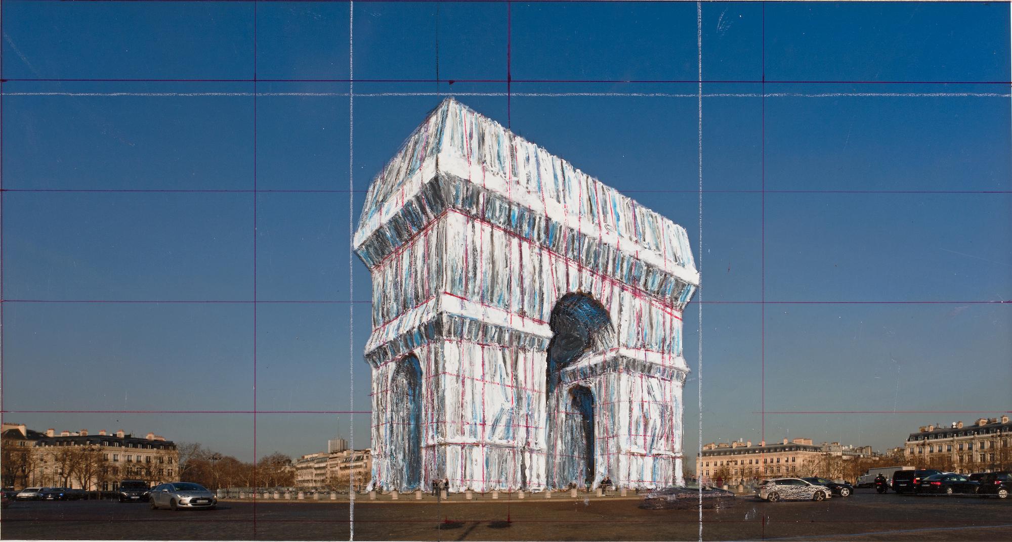 L'Arc de Triomphe impacchettato di Christo, in arrivo nel 2020.