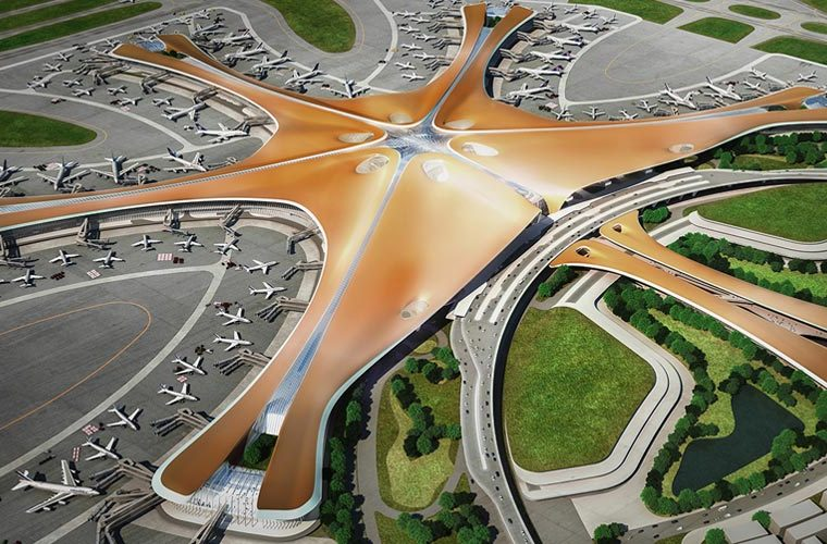 Beijing Daxing airport designed by Zaha Hadid Architects
