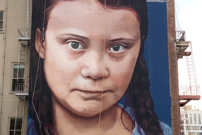 Greta Thunberg, activism on a mural in San Francisco