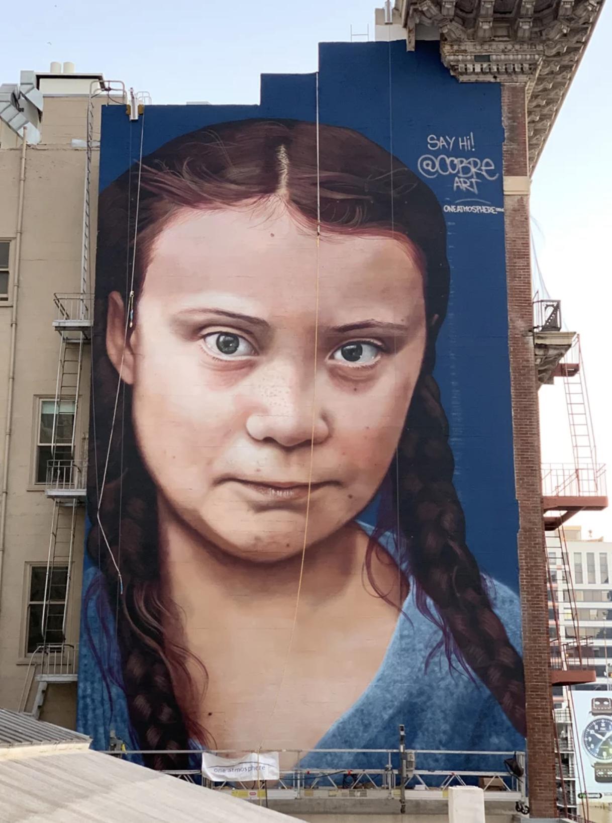 Greta Thunberg, activism on a mural in San Francisco