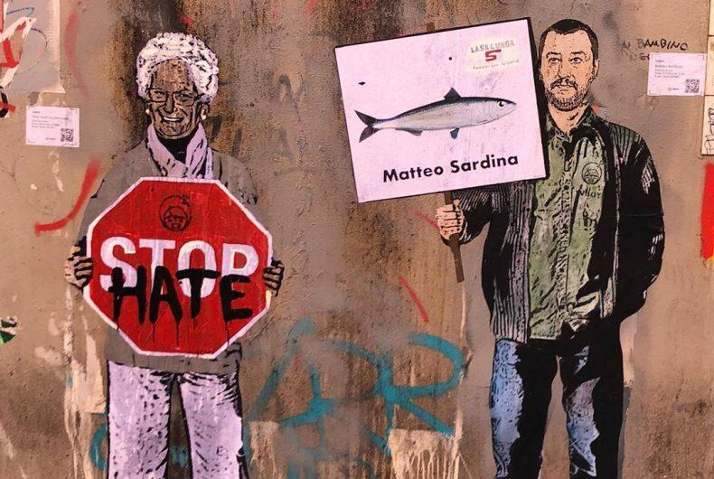 Liliana Segre e Salvini nel murales di TVBOY