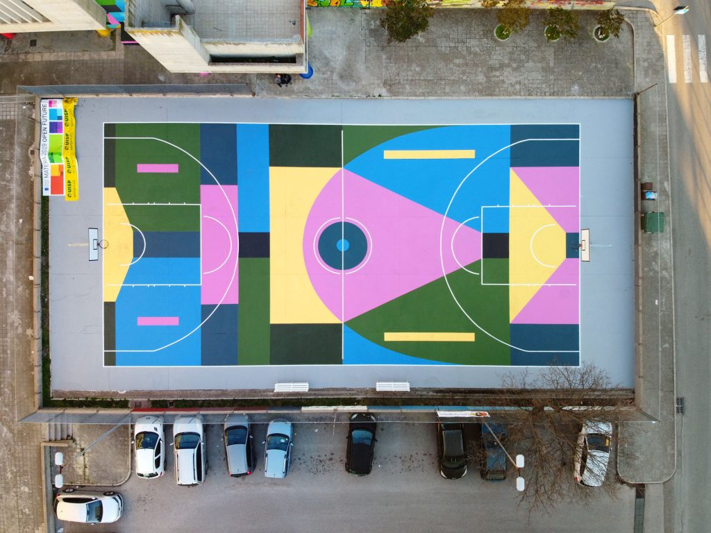 Let S Play Culture Nico Skolp S Mural On A Basketball Court
