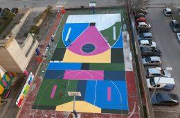 Let's Play Culture, il murales di Nico Skolp su un campo da basket