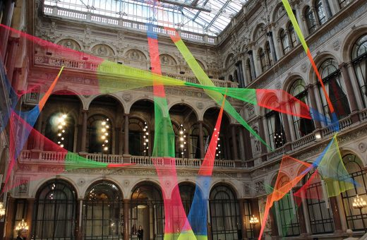 The installation of coloured nets by Rana Begum