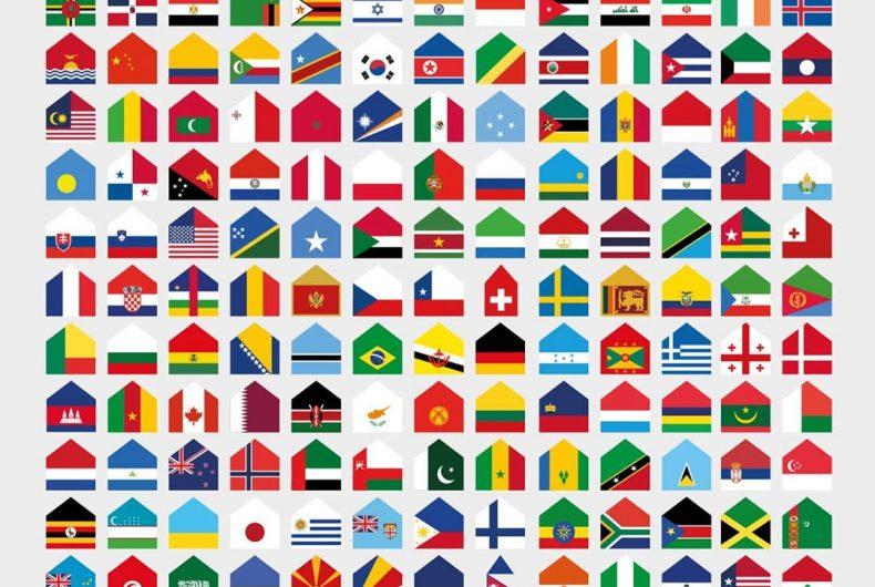 Le bandiere nazionali diventano case contro il Covid-19