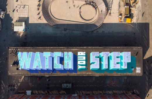 """Watch Your Step"" the mural by TAVU & LOUVES in Brussels"