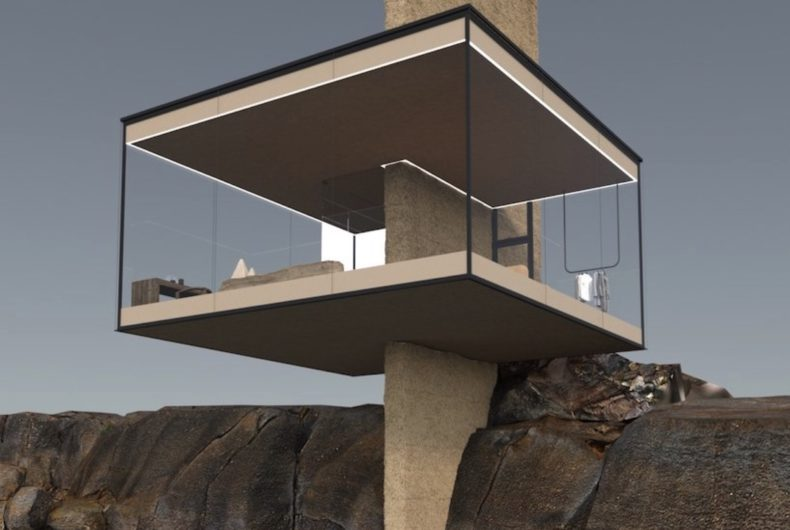Air, the cabin suspended above the sea