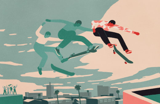 Peter Phobia illustrates his love of skateboarding