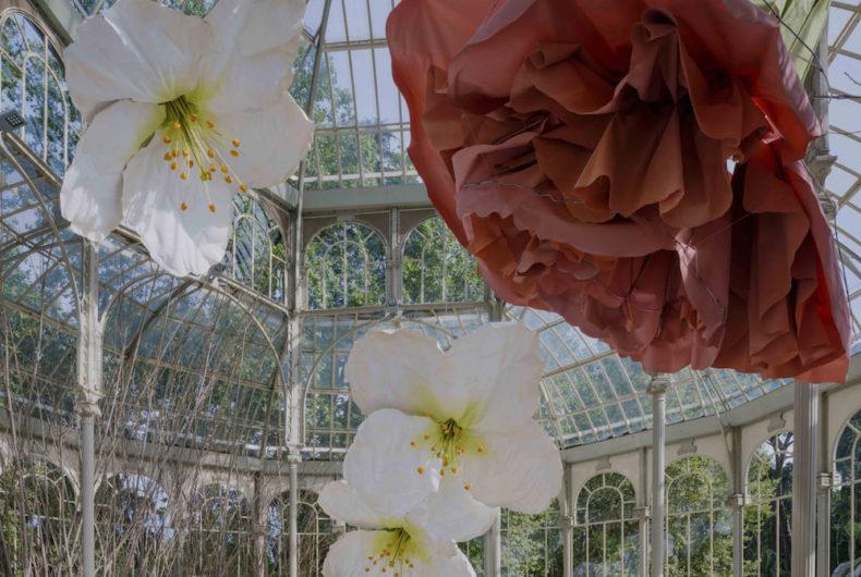 I fiori giganti di Petrit Halilaj invadono il Palacio de Cristal di Madrid