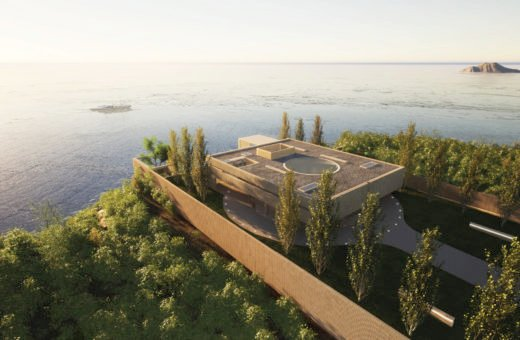 Villa Radii, contrasts of materials and shapes facing the ocean