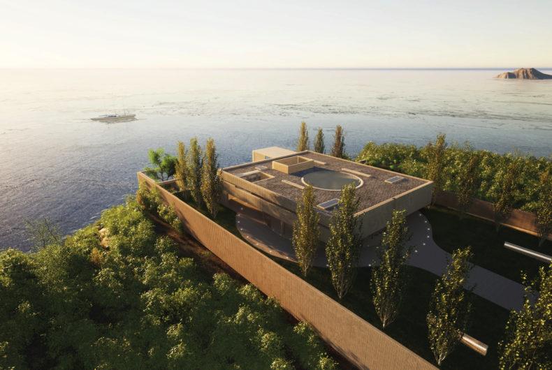 Villa Radii, contrasts of materials and shapes facing the ocean