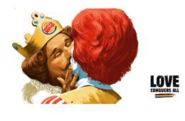 The kiss between Burger King and Ronald McDonald
