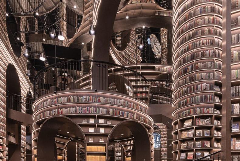 The latest library of X+Living, a forest of mirrors