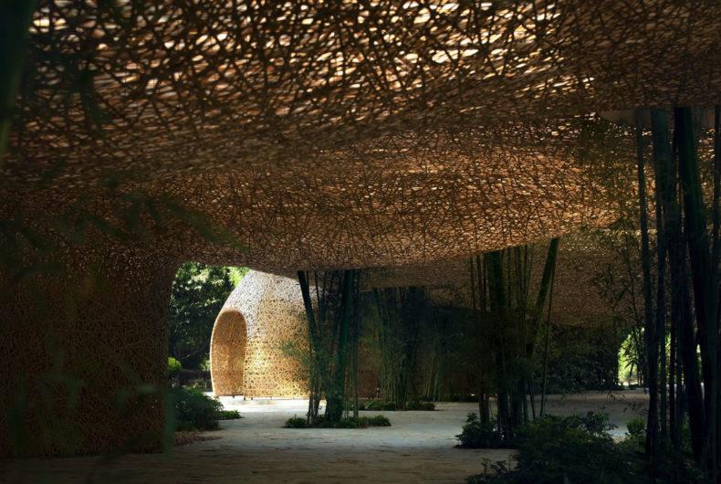 Il padiglione interamente costruito in bambù
