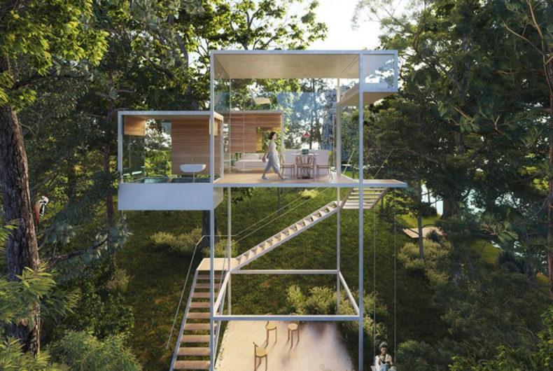 Treehouse Module, una casa sull'albero nella Valle della Loira