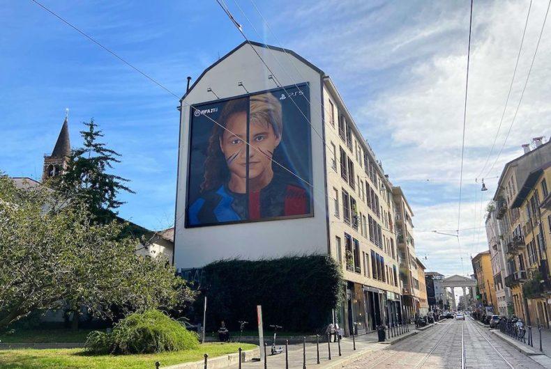 Il murales di Jorit a Milano dedicato Milan e Inter