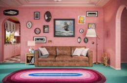 Gli interni dei Simpson in stile Wes Anderson