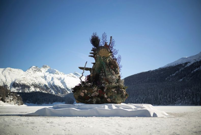 Damien Hirst's artwork on the frozen lake of St. Moritz