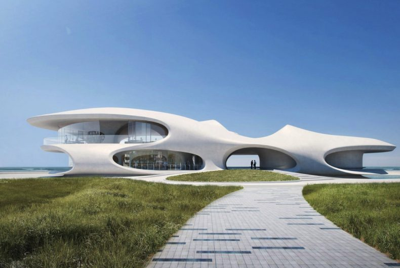 Wormhole Library, una biblioteca futuristica affacciata sul mare
