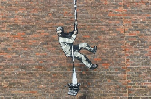 A new Banksy outside the prison in Reading, UK