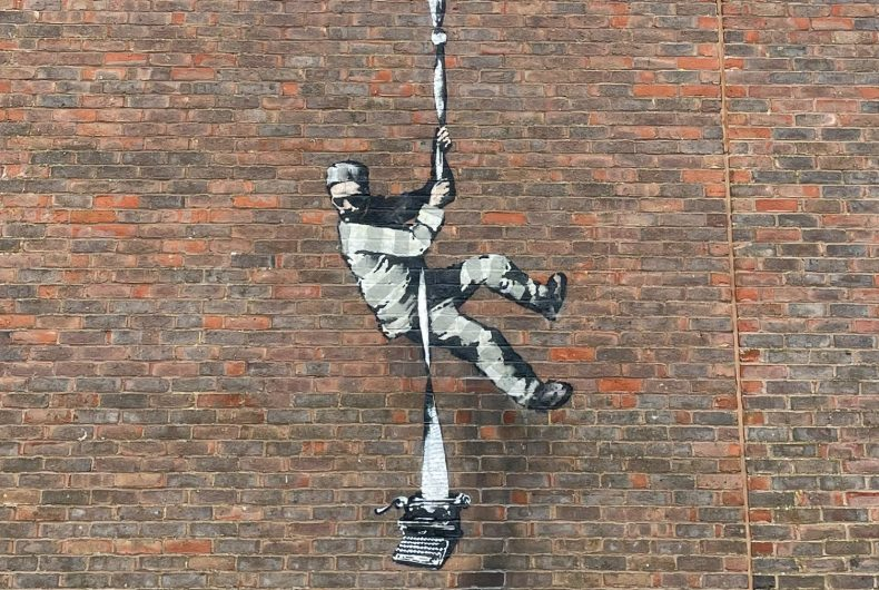 A possible new Banksy outside the prison in Reading, UK