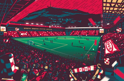 """Home of football,"" Gundersons studio's illustrated stadiums"