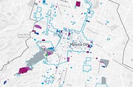 La cartografia con tutto il patrimonio architettonico di Città del Messico