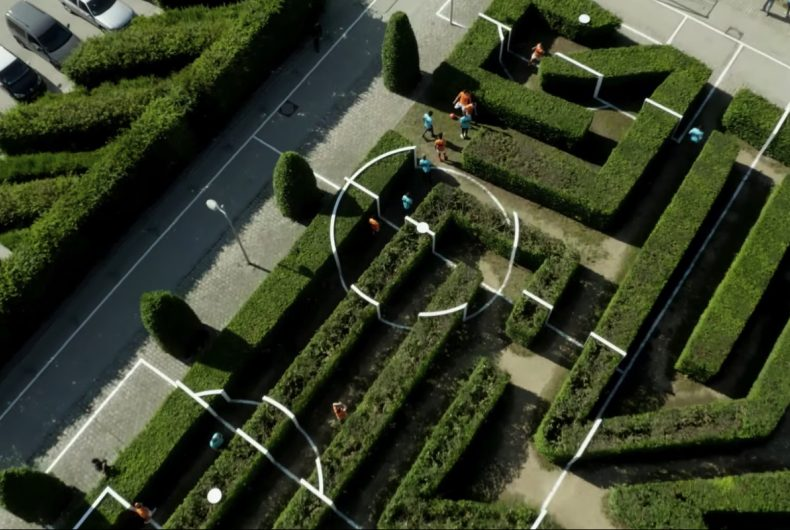 Benedetto Bufalino's football pitch built into a labyrinth