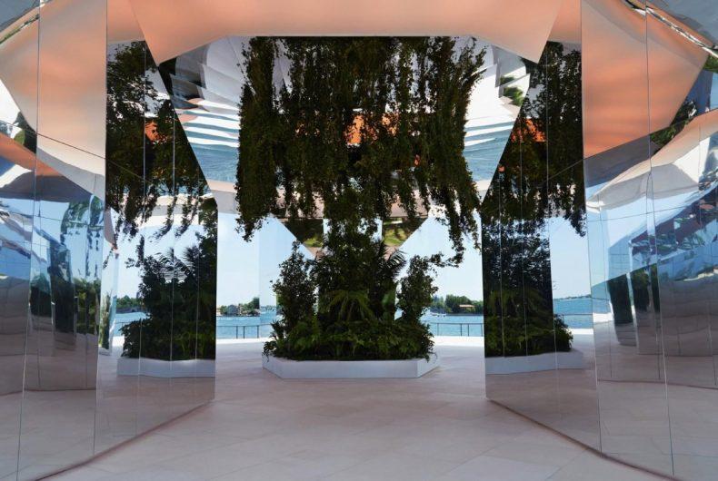 Doug Aitken's mirror installation for the Saint Laurent fashion show