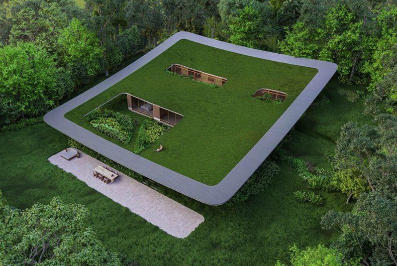 Taperá House, la casa con un prato sul tetto